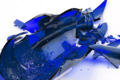 Broken blue glass Royalty Free Stock Photo