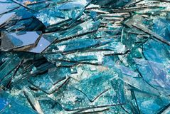Broken blue glass. Background of broken blue glass Stock Images