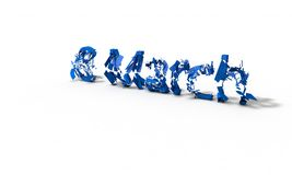Broken, blue text 18 march, 3d. Render Stock Photography