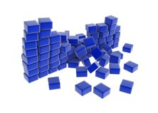 Broken Blue Wall. Breaking blue block wall, over white, isolated Stock Image