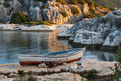 Broken boat in Kalekoy village, built over ancient Simena town Stock Image