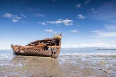 Broken boat in Motueka Royalty Free Stock Photo