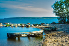 Broken boats on the coastline Royalty Free Stock Images