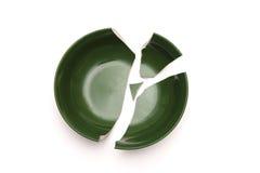 Broken bowl in pieces. Stock Photo