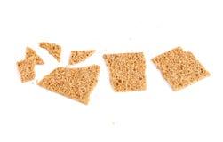 Broken bread cracker snack isolated Stock Images