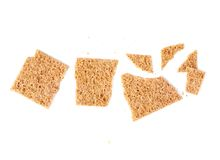Broken bread cracker snack isolated Royalty Free Stock Photo