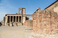 Broken Brick Column in Pompeii Stock Photos