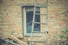 Broken Brick House Windows Filtered Stock Images