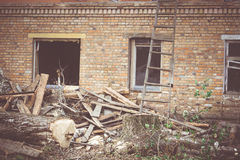 Broken Brick House Windows Filtered Stock Photos