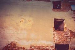 Broken Brick House Windows Filtered Royalty Free Stock Photo