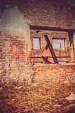 Broken Brick House Windows Filtered Royalty Free Stock Photos