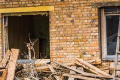 Broken Brick House Windows Stock Images