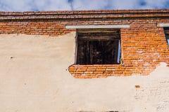 Broken Brick House Windows Stock Image