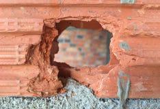 Broken brick.Open hole concept. Stock Photo