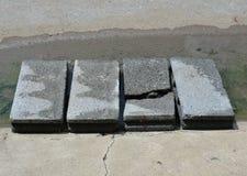 Broken brick on walkway for cross over flooding Stock Photo