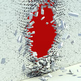 Broken brick wall. Destruction 3d concept Stock Photos