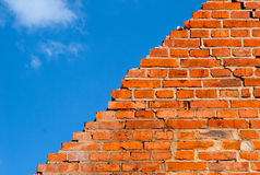 Broken brick wall against the  sky Royalty Free Stock Photography
