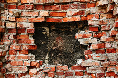Broken brick wall background Stock Image
