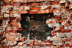 Broken brick wall background. Broken old brick wall background Stock Image
