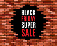 Broken brick wall,. Black friday super sale.  vector eps10 illustration  background Stock Photo