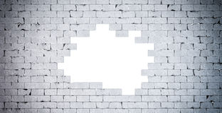 Broken Brick Wall. . Contains clipping path Royalty Free Stock Photo