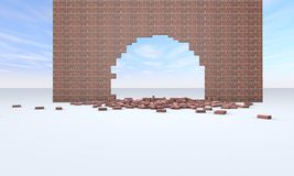 Broken brick wall. 3D renderinhg Royalty Free Stock Photography