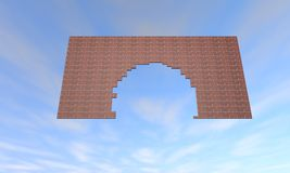 Broken brick wall. Flying in sky. 3D renderinhg Royalty Free Stock Image