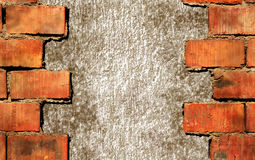 Broken brick wall frame. Broken red brick wall background Royalty Free Stock Image