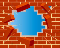 Broken brick wall with hole and sky Stock Images