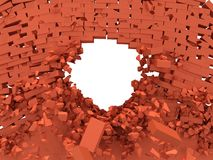 Broken brick wall with hole. Royalty Free Stock Photos