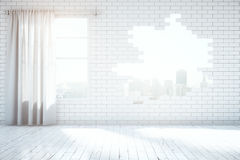 Broken brick wall in interior. Abstract broken white brick wall with New York city view in room with wooden floor window and curtains. 3D Rendering Stock Photos