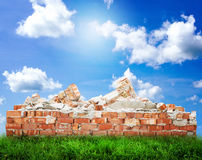 Broken Brick Wall with landscape Royalty Free Stock Images