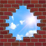 Broken brick wall and sky Royalty Free Stock Images