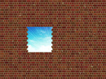 Broken brick wall and sky Royalty Free Stock Photos