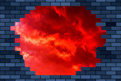 Broken brick wall and sky. Illustration of the abstract broken brick wall and red fiery sky on background Royalty Free Stock Photo