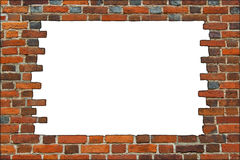 Broken brick wall on the white background Stock Photography