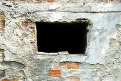 Broken Brick Wall with Window Stock Photo