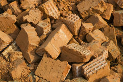 Broken bricks background Stock Photos