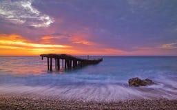 Broken bridge. And beautiful sunrise Royalty Free Stock Photo