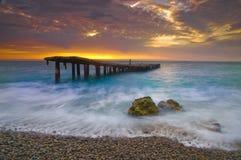 Broken bridge. And beautiful sunrise Royalty Free Stock Images
