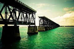 Broken Bridge. Bahia Honda Rail Bridge.  The remains of Henry Flaglers's Overseas Railroad to Key West, FL at Bahia Honda State Park Stock Image