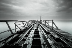 Broken Bridge. The Black And White Bridge Photography stock image