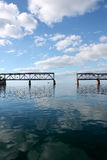 Broken Bridge in the Florida Keys with Clouds and Sea stock photos