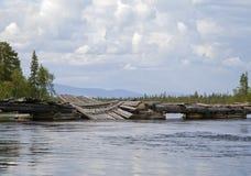 Broken bridge in Northern Russia Stock Image