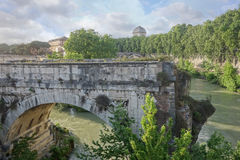 Broken bridge in Rome, Italy Royalty Free Stock Photos