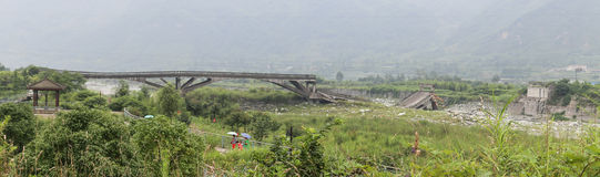 The broken bridge site by the earthquake Stock Photo
