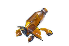 Broken brown bottle Royalty Free Stock Photo
