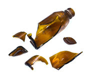 Broken brown bottle Royalty Free Stock Photos