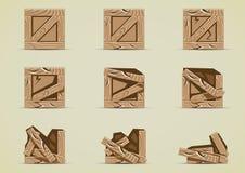 Broken brown crates collections. Set of nine broken brown crates Royalty Free Illustration