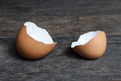 Broken brown egg shell. Stock Photos